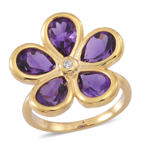 Natural Uruguay Amethyst (Pear), Natural White Cambodian Zircon Floral Ring in 14K Y Gold Overlay St