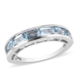 Santamaria Aquamarine Band Ring in Platinum Overlay Sterling Silver 1.50 Ct.