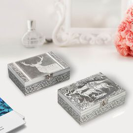 Set of 2 - Deer Embossed Jewellry Storage Boxes with Red Interior (17.7x12.7x5.08 Cm)