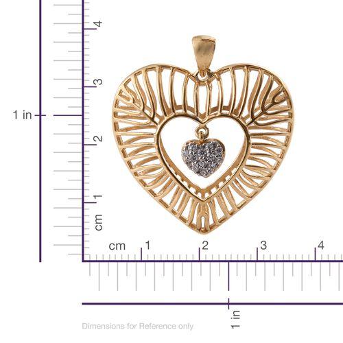 J Francis - 14K Gold Overlay Sterling Silver Dangle Heart Pendant Made with SWAROVSKI ZIRCONIA