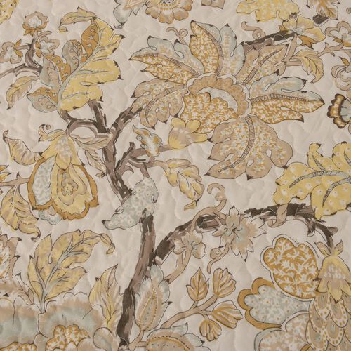 Double/King Size Chintz Print Sherpa Quilt (240x260 cm) in Cream and Multi Colour