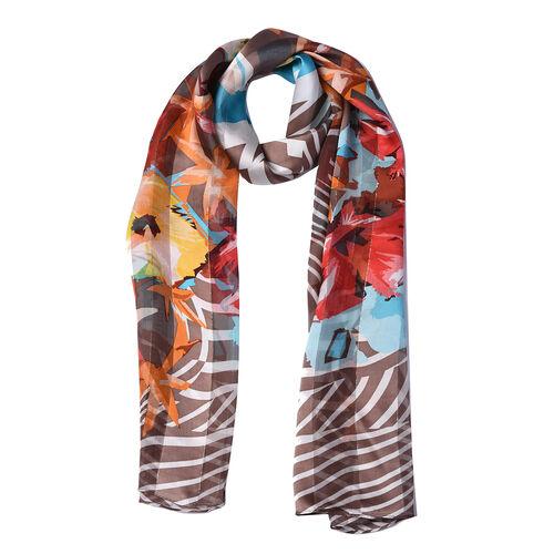 LA MAREY 100% Mulberry Silk Multi Colour Floral Print Scarf (165x50cm)