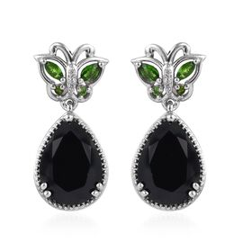8 Carat Boi Ploi Black Spinel and Multi Gemstone Butterfly Drop Earrings in Platinum Plated Silver