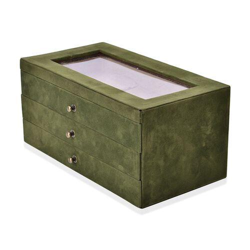 Green Colour 3 Drawer Jewellery Box (Size 29x16x14 Cm)