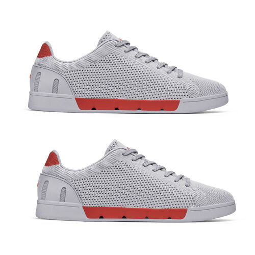 Swims Breeze Tennis Knit Mens Trainer (Size 4) - Alloy and Red