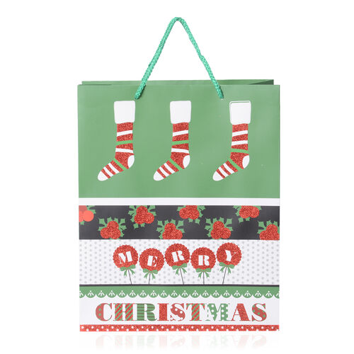 Set of 12 Christmas Tree and Snowflake Pattern Paper Bag with Durable Rope Handles