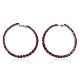 Burmese Ruby (Rnd and Oval) Hoop Earrings (with Clasp) in Platinum Overlay Sterling Silver 8.517 Ct.