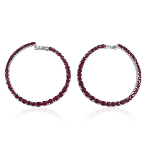 Burmese Ruby (Rnd and Oval) Hoop Earrings (with Clasp) in Platinum Overlay Sterling Silver 8.517 Ct. Silver wt 16.00 Gms.