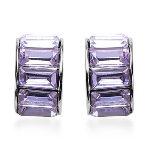 2 Piece Set - Simulated Amethyst Eternity Bangle (Size 7.5) and Earrings (with Push Back) in Gold Tone