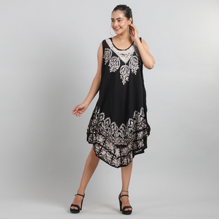 Viscose Crepe Umbrella Dress Embellished with Batik and Embroidery (Size 120x105 Cm) - Black & Grey