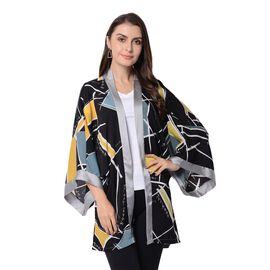 Designer Inspired-Black, Grey and Yellow Colour Geometrical Jacket (Size 80x75 Cm)