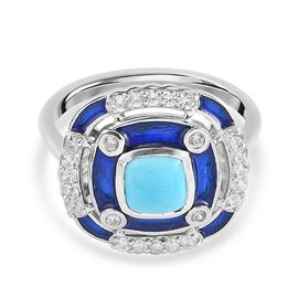 Arizona Sleeping Beauty Turquoise and Natural Cambodian Zircon Enamelled Ring in Platinum Overlay St