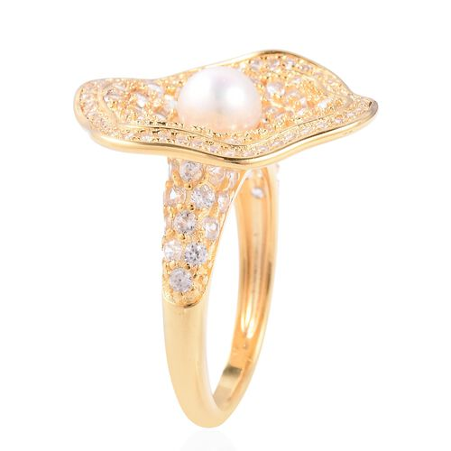 Freshwater Pearl (Rnd), Natural Cambodian Zircon Ring in Gold Overlay Sterling Silver