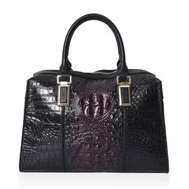 100% Genuine Leather Croc Embossed Tote Bag (Size 26.5x10.3x20.4 Cm) - Black and Red