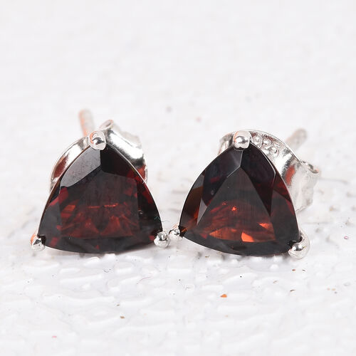 Mozambique Garnet Stud Earrings (with Push Back) in Platinum Overlay Sterling Silver 2.50 Ct.