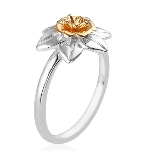 Platinum and Yellow Gold Overlay Sterling Silver Flower Ring