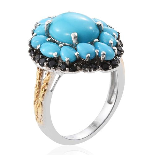 Arizona Sleeping Beauty Turquoise (Ovl 3.00 Ct), Boi Ploi Black Spinel Ring in Platinum and Yellow Gold Overlay Sterling Silver 5.500 Ct.