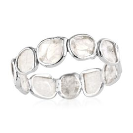 Artisan Crafted Polki Diamond Eternity Ring in Platinum Overlay Sterling Silver 1.00 Ct.