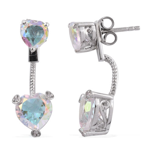 Mercury Glow (Hrt), Natural Cambodian Zircon Jacket Earrings (with Push Back) in Platinum Overlay Sterling Silver 2.056 Ct.