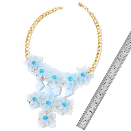 Simulated Sky Blue Topaz Floral Necklace (Size 22 with 1 inch Extender) in Yellow Gold Tone
