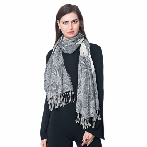 100% Merino Wool Jacquard Weaving Paisley Pattern Grey and White Colour Scarf with Fringes (Size 175