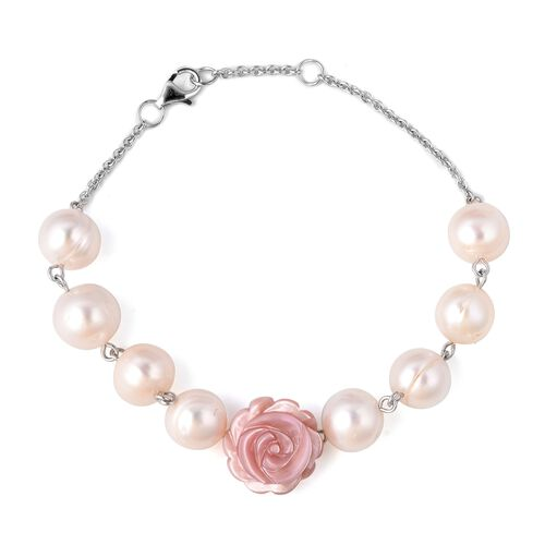 Jardin Collection - Freshwater Pearl and Dusty Pink Mother of Pearl Bracelet (Size 7.5 - 8) in Rhodi