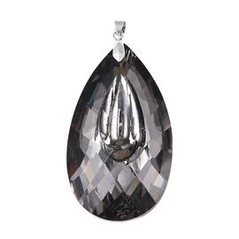 Simulated Grey Spinel (Pear 63x36 mm) Pendant in Rhodium Overlay Sterling Silver