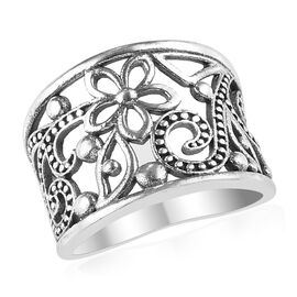 Floral Vine Design Band Ring in Silver 4.22 Grams