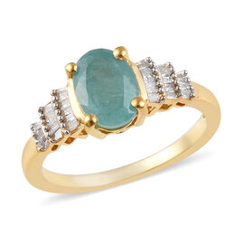 1.47 Ct Grandidierite and Diamond Ballerina Ring in 14K Gold Plated Silver