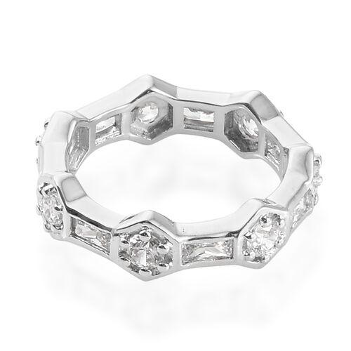 J Francis - Platinum Overlay Sterling Silver (Bgt and Rnd) Band Ring Made With SWAROVSKI ZIRCONIA