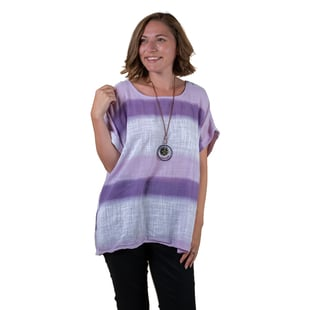 TAMSY Striped Pattern Linen Mix Top With Necklace - Mint