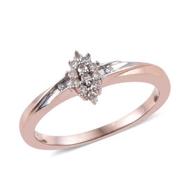 Diamond (Rnd) Ring in Rose Gold and Platinum Overlay Sterling Silver Number of Diamonds 14