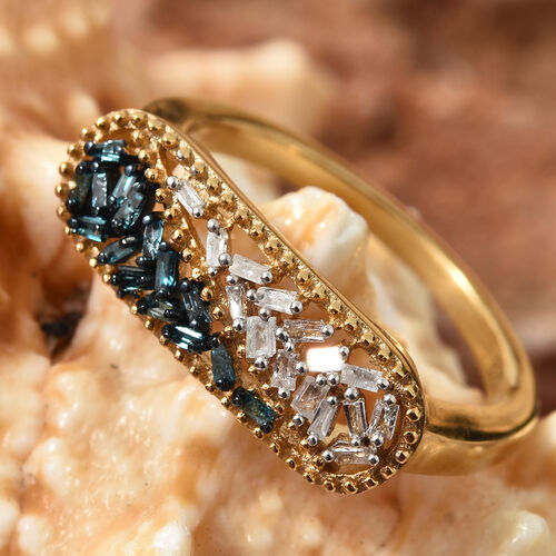 Blue and White Diamond (Bgt) Ring in 14K Gold Overlay Sterling Silver 0.205 Ct.