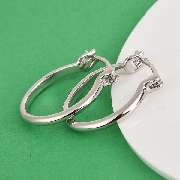 Platinum Overlay Sterling Silver Earrings (with Clasp)