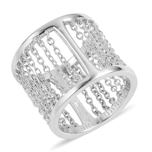 LucyQ Rain Cage Inspired Ring in Rhodium Plated Sterling Silver 6.70 Grams