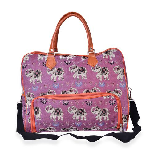 Purple, Brown and Multi Colour Elephant Pattern Jacquard Tote Bag with Adjustable Shoulder Strap (Size 42X33X20 Cm)