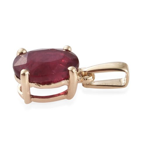 9K Yellow Gold AA African Ruby (Ovl) Solitaire Pendant 1.000 Ct.