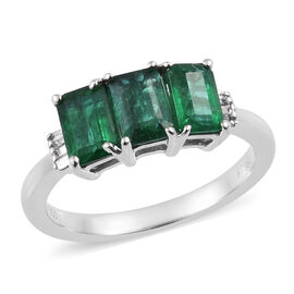 RHAPSODY 1.65 Ct AAAA Zambian Emerald and Diamond 3 Stone Ring in 950 Platinum 4.74 Grams VS EF