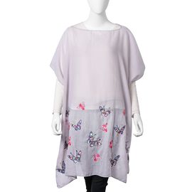 New Season-Grey, Red, Pink and Multi Colour Embroidered Butterfly and Bee Poncho (Size 90x90 Cm)