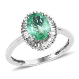1.30 Ct Boyaca Colombian Emerald and Diamond Halo Ring in 14K White Gold 2.46 grams