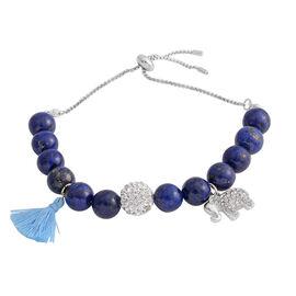 Designer Inspired - Lapis Lazuli (Rnd), Natural Crystal Quartz Adjustable Bracelet (Size 6.5 - 10) with Charm in Silver Plated 105.00 Ct.