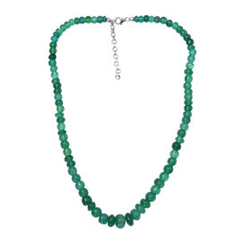 Verde Onyx Graduated Necklace (Size 18 with 2 Inch Extender) in Platinum Overlay Sterling Silver 180