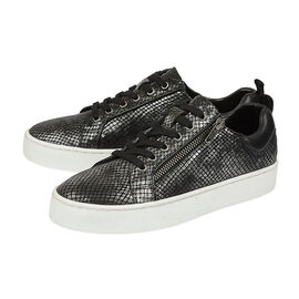 Lotus Black Pewter and Snake Leather Shira Casual Trainers