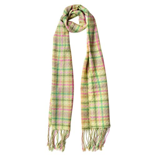 100% Wool Green, Pink and Multi Colour Checks Pattern Scarf with Tassels (Size 170X47 Cm)