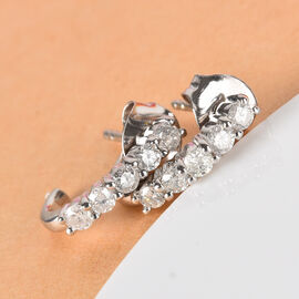 9K Wite Gold SGL Certified Diamond (Rnd) (I3/G-H) Earrings (with Push Back) 0.50 Ct.