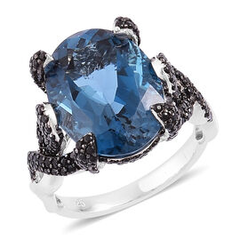Designer Inspired- London Blue Topaz (Ovl 11.25 Ct), Boi Ploi Black Spinel Cocktail Ring in Rhodium