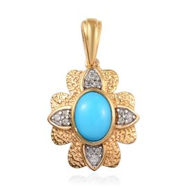1.88 Ct Arizona Sleeping Beauty Turquoise and Zircon Flower Pendant in Gold Plated Sterling Silver