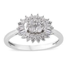 9K White Gold SGL CERTIFIED Diamond (Rnd and Bgt) (I3 / G-H) Ring 0.500 Ct.