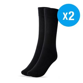 Set of 2- 82% Cotton Anti Bacterial Socks Treated With N9 Pure Silver (Size 4-8 UK) - Black