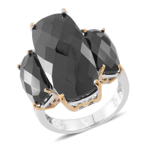 Designer Inspired - Rare Size Boi Ploi Black Spinel (Cush) Ring in Rhodium and 14K Gold Overlay Sterling Silver 32.000 Ct. Silver wt 6.70 Gms.